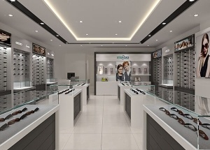 latest optical showroom design with display furniture