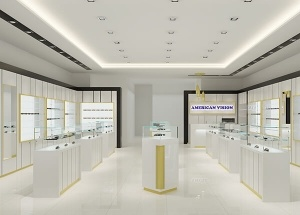 optical shop design with white frame displays