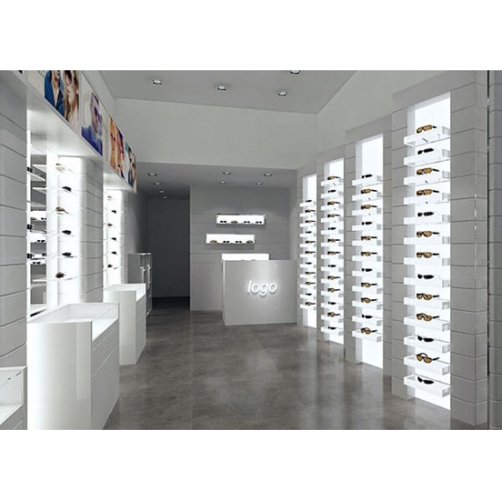 White Optical Store Design Wall Display Furniture For Sale White