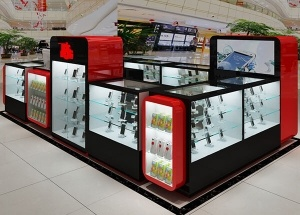 cell phone kiosk in mall glass showcase Australia