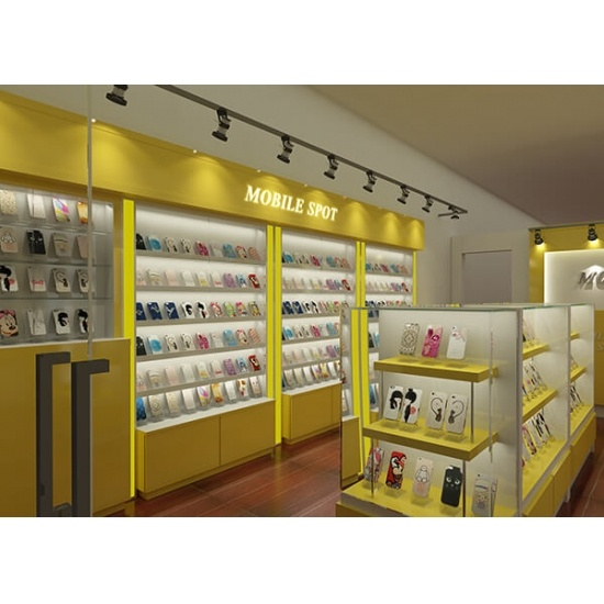 Mobile Accessories Shop Design Yellow Display Racks For Sale