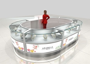 jewellery kiosk design round jewelry display showcase