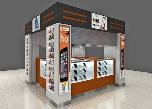 mall cell phone kiosk for mobile & accessories displays