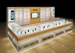 phone kiosk design glass showcase wall cabinets