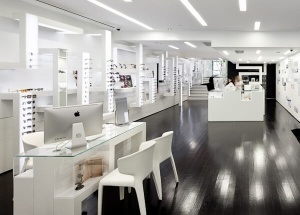 large optical shop interior design white display furniture