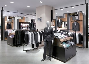 retail clothing fixtures displays for men's shop