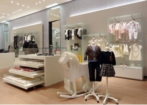 modern store fixtures for baby shop interior