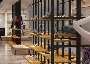 shoe display shelves for retail store
