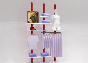 wall mounted garment rack shop display shelf