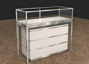 Bon Retail White Jewelry Showcases Display Cabinets With Drawers