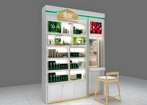 retail skin care display ideas white wall unit