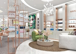 perfume showroom design with display furniture