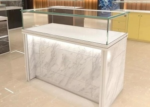 custom jewelry show case marble and glass