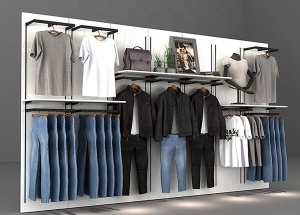 retail garment shop racks display wall decor ideas