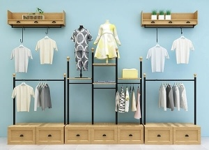 wooden garment rack with shelves
