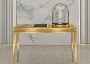 gold diamond showcase retail jewelry display case table