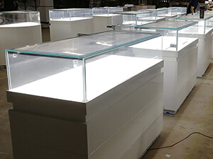 White jewellery display cabinets for Canada project
