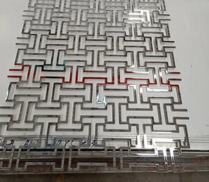 stainless steel partition screen byobu shop cut off