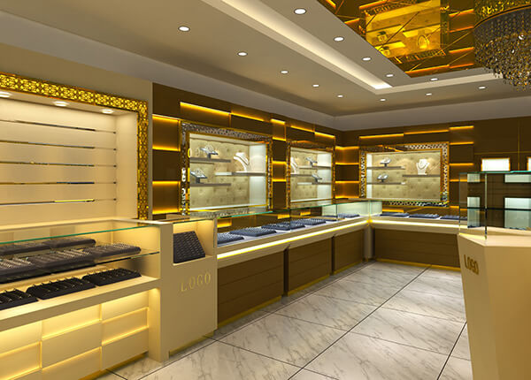 Jewellry showcase for a jewelry shop project in UK, 2015
